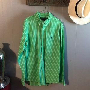 Ralph Lauren green and white stripe shirt